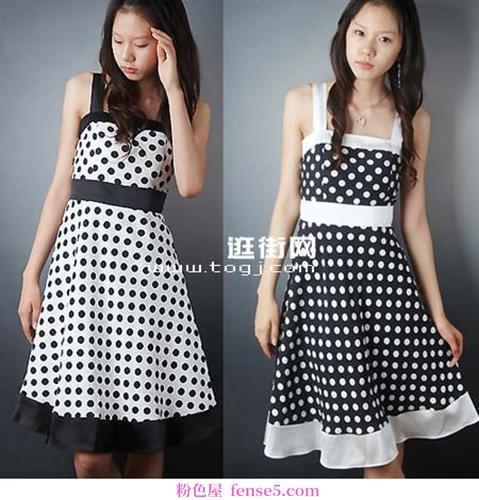 圆点图案连衣裙